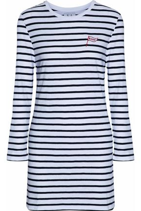 ZOE KARSSEN Embroidered striped cotton-jersey mini dress