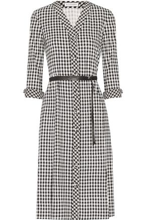 ALTUZARRA Leppard belted houndstooth stretch-cady dress