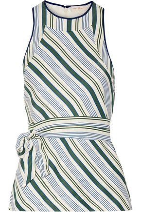 TORY BURCH Villa striped satin-twill top