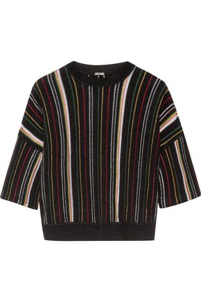 ADAM LIPPES Striped open-knit cotton-blend sweater
