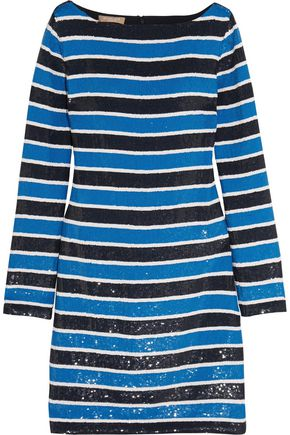 MICHAEL KORS COLLECTION Striped sequined silk mini dress