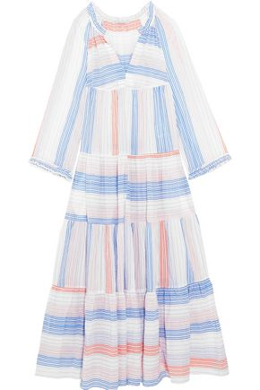 STELLA McCARTNEY Tiered striped cotton-blend maxi dress