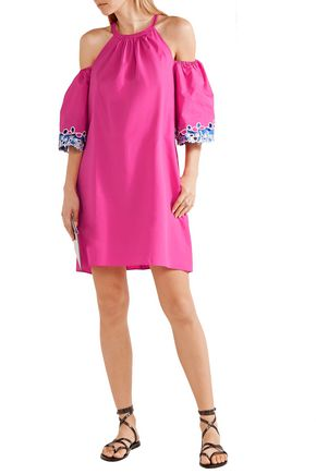 Peter Pilotto Woman Cold-shoulder Eyelet Cotton-poplin Mini Dress Blue Size 12 Peter Pilotto 4QEpO7Ow