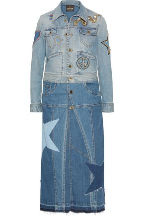 ROBERTO CAVALLI Two-tone appliquéd denim coat