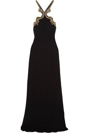 ROBERTO CAVALLI Open-back embellished stretch-crepe halterneck gown