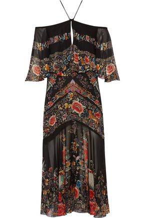ROBERTO CAVALLI Off-the-shoulder ruffled printed silk-georgette midi dress
