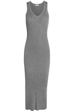 MUGLER Metallic ribbed stretch-knit midi dress