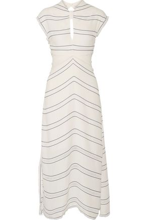 PROENZA SCHOULER Tie-back cutout striped crepe midi dress