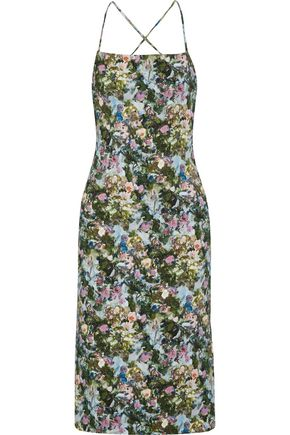 CUSHNIE ET OCHS Donna open-back floral-print stretch-cady dress