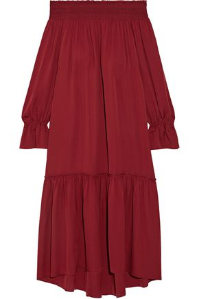 THEORY Off-the-shoulder silk dress