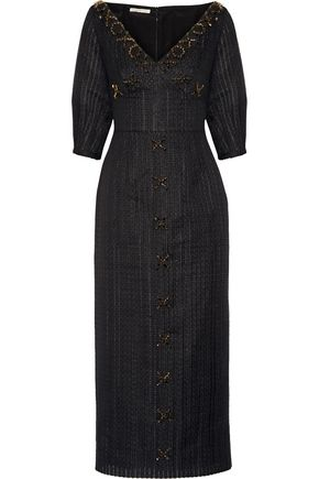 EMILIA WICKSTEAD Eden embellished organza midi dress