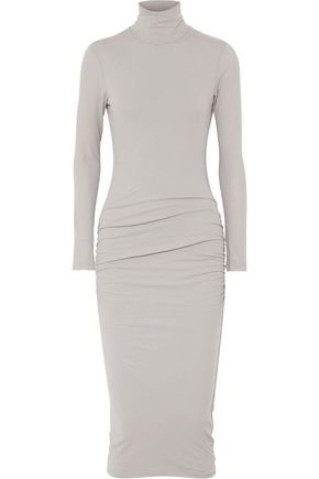 JAMES PERSE Ruched stretch-cotton jersey turtleneck midi dress