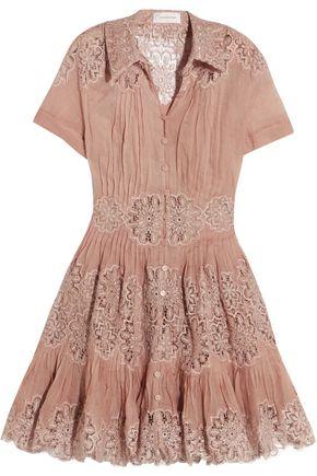 ZIMMERMANN Winsome cotton-gauze and lace mini dress