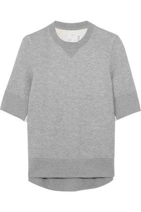 SACAI Poplin-paneled cotton-blend jersey sweatshirt