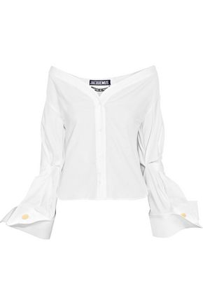 JACQUEMUS Off-the-shoulder cotton-piqué shirt