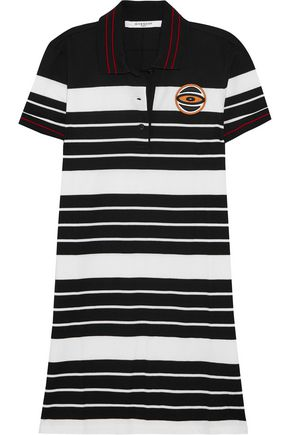 GIVENCHY Striped cotton-piqué mini dress