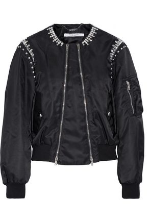 GIVENCHY Crystal-embellished shell bomber jacket