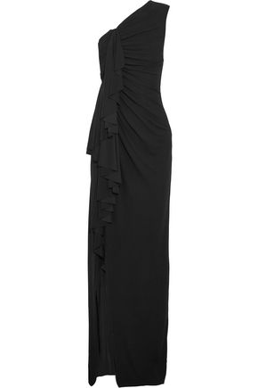 GIVENCHY One-shoulder ruffled stretch-crepe gown