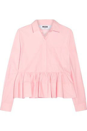 MSGM Stretch cotton-blend poplin peplum shirt