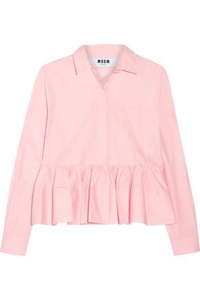 MSGM Stretch cotton-blend poplin peplum shirt