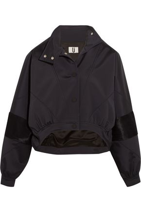 TOPSHOP UNIQUE Cropped calf hair-paneled shell jacket
