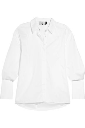 TOPSHOP UNIQUE Spiral cotton-poplin shirt