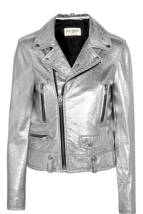 SAINT LAURENT Perfecto metallic textured-leather biker jacket