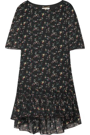 SAINT LAURENT Ruffled floral-print silk-chiffon mini dress