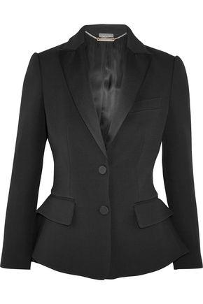 ALEXANDER MCQUEEN Wool and silk-blend peplum tuxedo blazer
