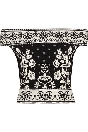 ALEXANDER MCQUEEN Off-the-shoulder jacquard-knit top