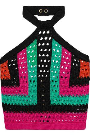 BALMAIN Cropped open-knit halterneck top