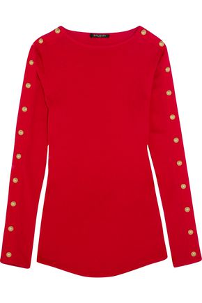 BALMAIN Embellished cotton-jersey top