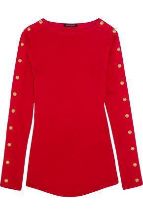 BALMAIN Embellished cotton-jersey top