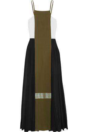 ZEUS + DIONE Maya pleated color-block silk crepe de chine maxi dress