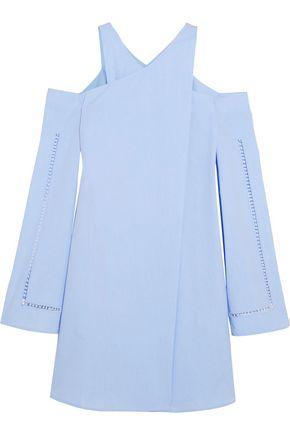 ZEUS + DIONE Anemone cold-shoulder wrap-effect cotton-poplin mini dress