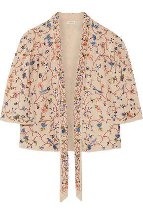 TALITHA Phulkari cropped embroidered silk jacket