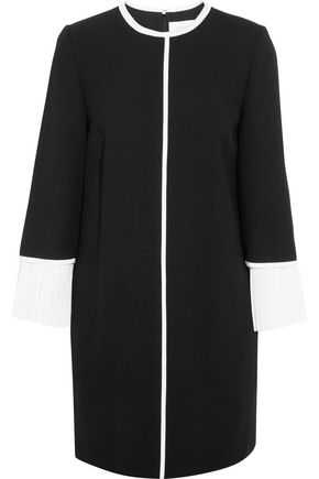 VICTORIA, VICTORIA BECKHAM Crepe de chine-trimmed wool-crepe mini dress