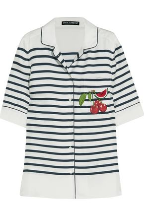DOLCE & GABBANA Appliquéd striped silk-twill shirt