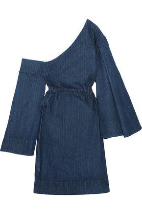 SOLACE LONDON Dionne one-shoulder denim mini dress