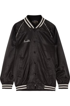 R13 Double Trouble Roadie printed cotton-blend satin bomber jacket