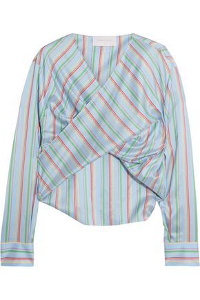ESTEBAN CORTAZAR Twist-front striped silk-satin top