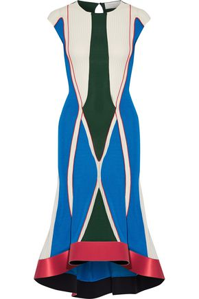 ESTEBAN CORTAZAR Asymmetric satin-trimmed color-block stretch-knit midi dress