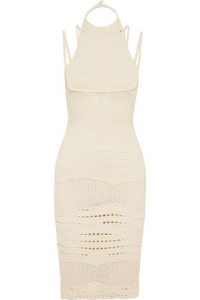 ESTEBAN CORTAZAR Cotton-blend crochet-knit halterneck dress