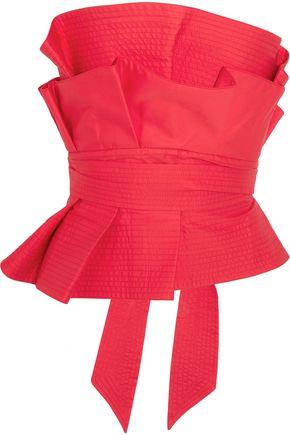 JOHANNA ORTIZ Rockstar ruffled cotton-poplin bustier top