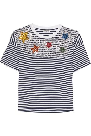 MIU MIU Embellished striped cotton-jersey T-shirt
