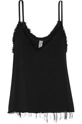 RAQUEL ALLEGRA Frayed textured-crepe camisole