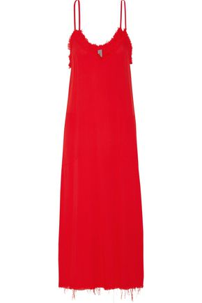 RAQUEL ALLEGRA Frayed textured-crepe midi dress