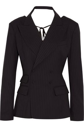 FACETASM Open-back pinstriped wool-blend blazer