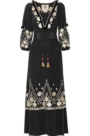 FIGUE Lola tasseled embroidered silk maxi dress
