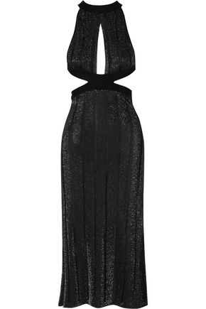 CUSHNIE ET OCHS Cutout metallic stretch-knit midi dress